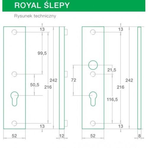 Klamka ROYAL FLEX AXA ślepy (szlif)