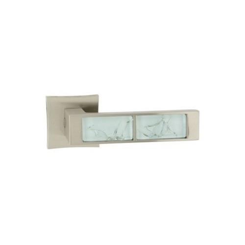 Klamka GAZELA QR M9/WHITE nikiel lakierowany/biały