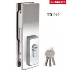 Zamek TD-040 z ryglem prostym do drzwi szklanych HARKO