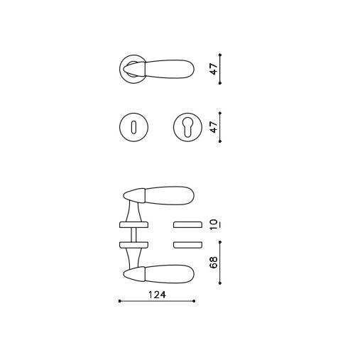 Klamka AURORA chrom satyna/szkło grawerowane OLIVARI