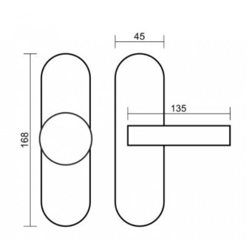 Gałko-Klamka OLARIX SHORT 72mm inox VDS