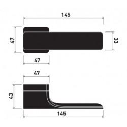 Klamka MINIMAL LIGHT 47x47mm CR-K czarny M&T