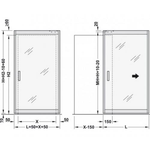 System MAGIC 2 Frame do drzwi szklanych 1100