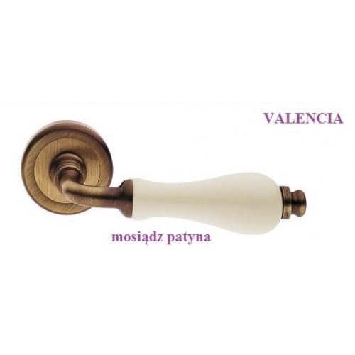 Klamka VALENCIA Manital szyld okrągły mosiądz patyna-biała porcelana