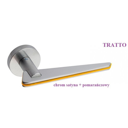 Klamka TRATTO Kleis szyld okrągły chrom satyna + pomarańczowy